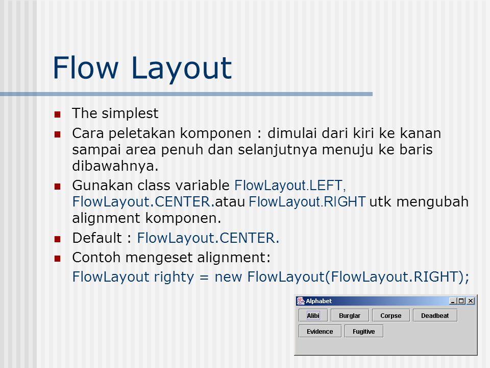Flow Layout The simplest Cara peletakan komponen : dimulai dari kiri ke kanan sampai area penuh dan selanjutnya menuju ke baris dibawahnya.