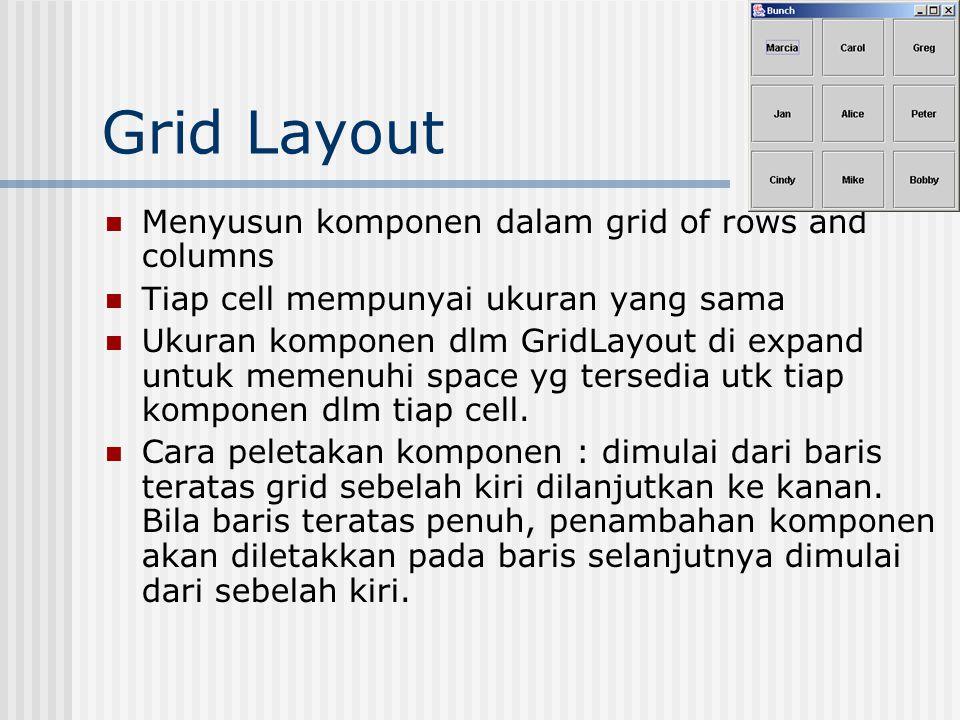 Grid Layout Menyusun komponen dalam grid of rows and columns Tiap cell mempunyai ukuran yang sama Ukuran komponen dlm GridLayout di expand untuk memenuhi space yg tersedia utk tiap komponen dlm tiap cell.