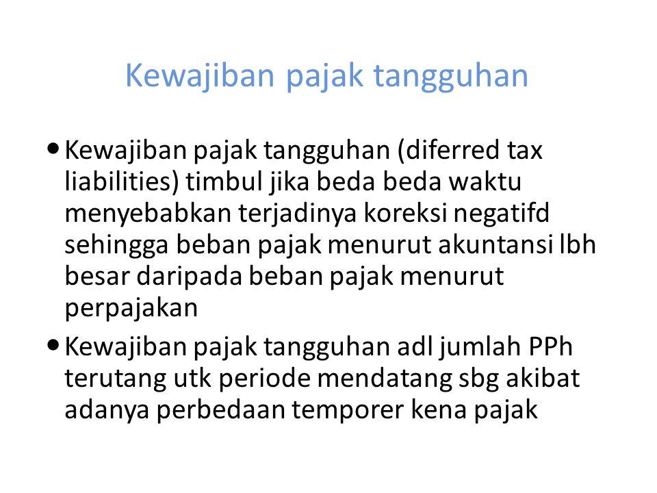 Kewajiban pajak tangguhan Kewajiban pajak tangguhan (diferred tax liabilities) timbul jika beda beda waktu menyebabkan terjadinya koreksi negatifd seh