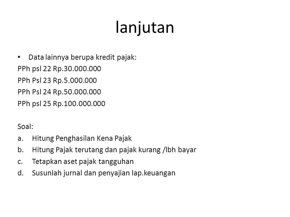 lanjutan Data lainnya berupa kredit pajak: PPh psl 22 Rp.30.000.000 PPh Psl 23 Rp.5.000.000 PPh Psl 24 Rp.50.000.000 PPh psl 25 Rp.100.000.000 Soal: a
