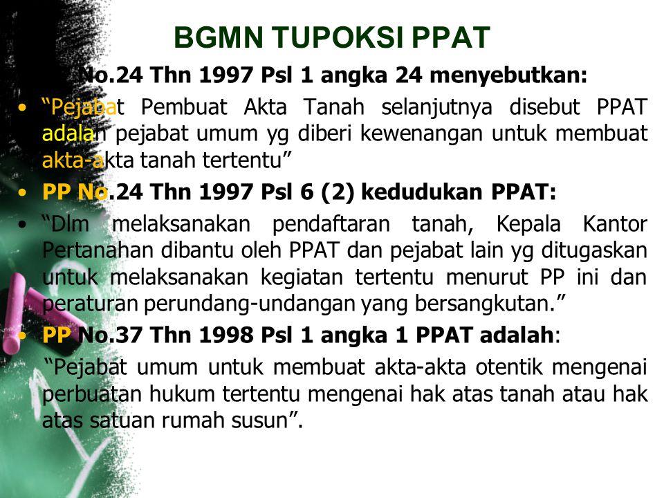 BGMN TUPOKSI PPAT Pasal 4 (1) PPAT hanya berwenang membuat akta mengenai hak atas tanah atau Hak Milik Atas Satuan Rumah Susun yang terletak di dalam