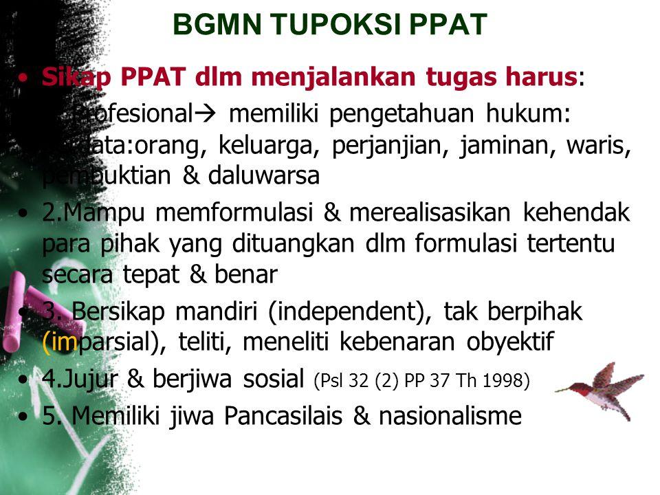 "BGMN TUPOKSI PPAT PP No.24 Thn 1997 Psl 1 angka 24 menyebutkan: ""Pejabat Pembuat Akta Tanah selanjutnya disebut PPAT adalah pejabat umum yg diberi kew"