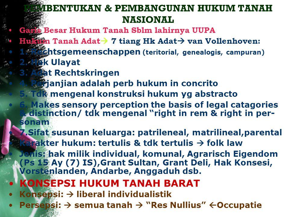 PEMBENTUKAN & PEMBANGUNAN HUKUM TANAH NASIONAL Garis Besar Hukum Tanah Sblm lahirnya UUPA Hukum Tanah Adat  7 tiang Hk Adat  van Vollenhoven: 1.