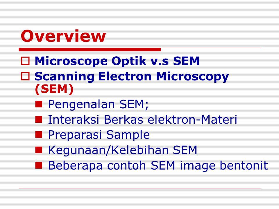 Overview  Microscope Optik v.s SEM  Scanning Electron Microscopy (SEM) Pengenalan SEM; Interaksi Berkas elektron-Materi Preparasi Sample Kegunaan/Ke