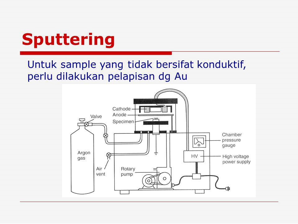 Sputtering Untuk sample yang tidak bersifat konduktif, perlu dilakukan pelapisan dg Au