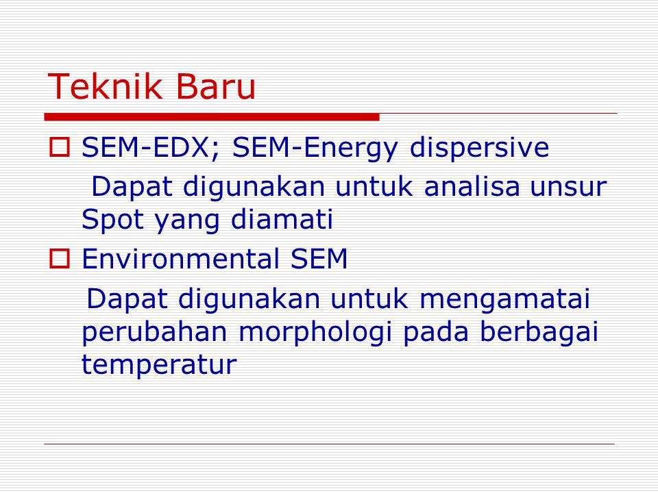 Teknik Baru  SEM-EDX; SEM-Energy dispersive Dapat digunakan untuk analisa unsur Spot yang diamati  Environmental SEM Dapat digunakan untuk mengamatai perubahan morphologi pada berbagai temperatur