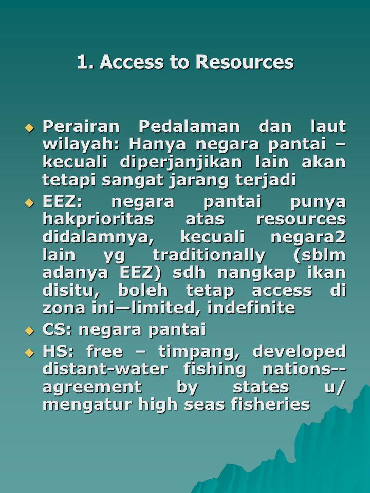1. Access to Resources  Perairan Pedalaman dan laut wilayah: Hanya negara pantai – kecuali diperjanjikan lain akan tetapi sangat jarang terjadi  EEZ