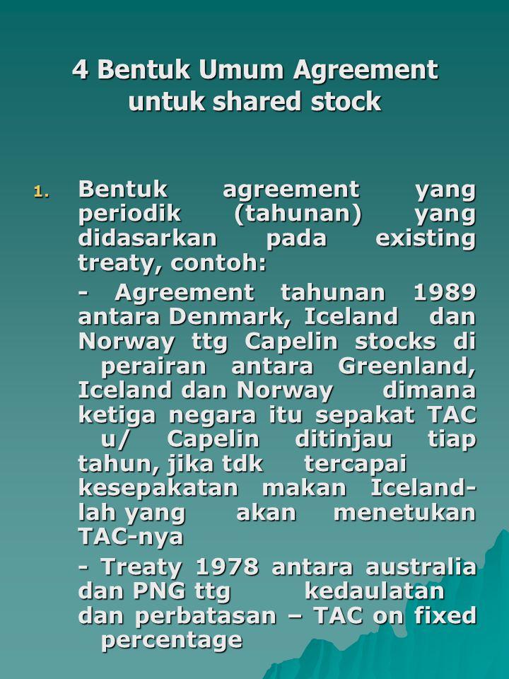 4 Bentuk Umum Agreement untuk shared stock 1. Bentuk agreement yang periodik (tahunan) yang didasarkan pada existing treaty, contoh: - Agreement tahun