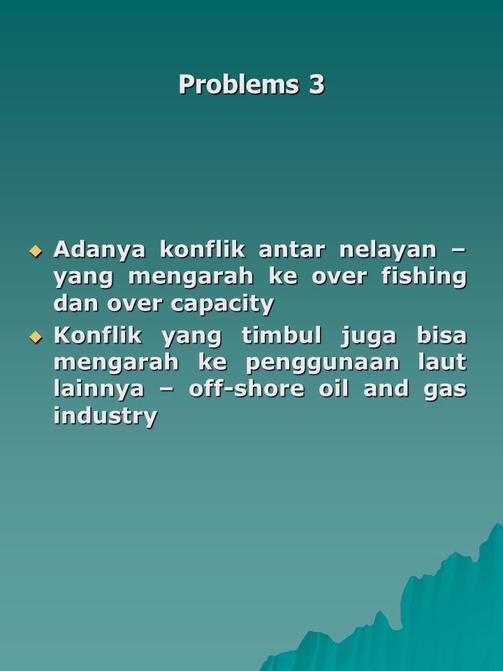 Problems 3  Adanya konflik antar nelayan – yang mengarah ke over fishing dan over capacity  Konflik yang timbul juga bisa mengarah ke penggunaan laut lainnya – off-shore oil and gas industry