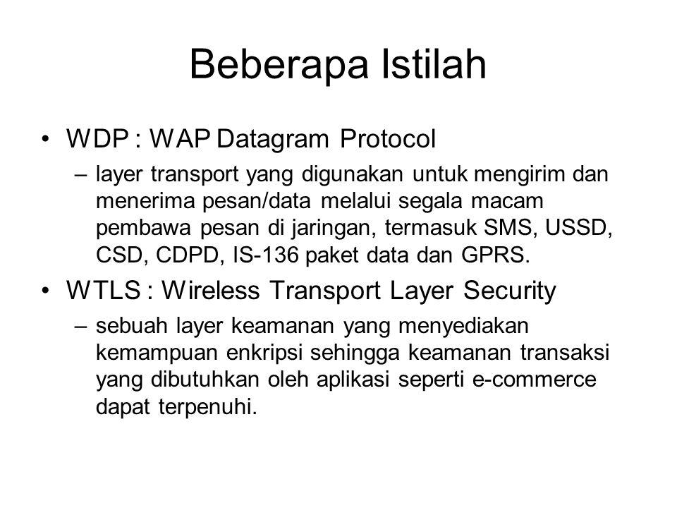 Beberapa Istilah WDP : WAP Datagram Protocol –layer transport yang digunakan untuk mengirim dan menerima pesan/data melalui segala macam pembawa pesan