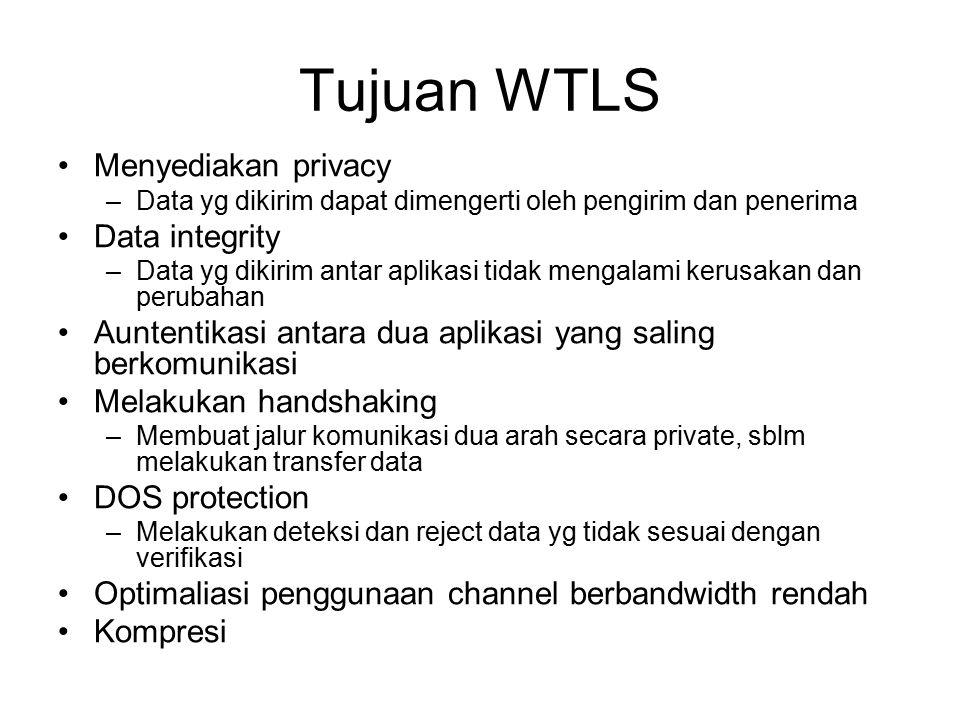 Tujuan WTLS Menyediakan privacy –Data yg dikirim dapat dimengerti oleh pengirim dan penerima Data integrity –Data yg dikirim antar aplikasi tidak meng