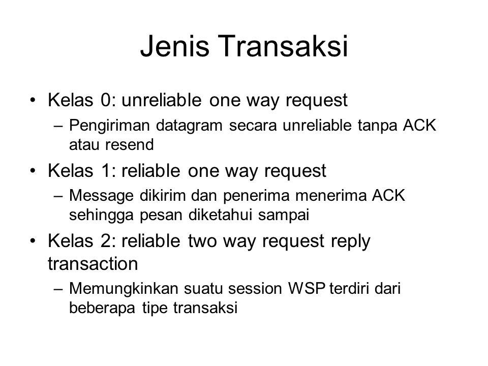 Jenis Transaksi Kelas 0: unreliable one way request –Pengiriman datagram secara unreliable tanpa ACK atau resend Kelas 1: reliable one way request –Message dikirim dan penerima menerima ACK sehingga pesan diketahui sampai Kelas 2: reliable two way request reply transaction –Memungkinkan suatu session WSP terdiri dari beberapa tipe transaksi