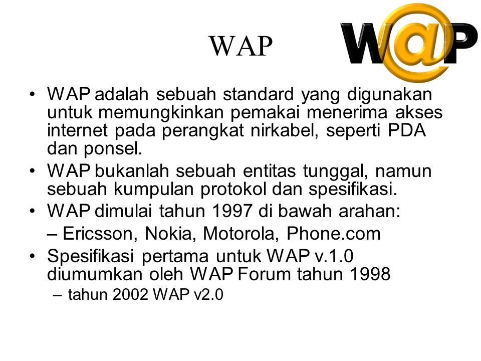 Wapforum.org Didirikan oleh Ericsson, Motorola, Nokia, Phone.com Tahun 2000 memiliki 450 anggota, terdiri dari pabrik handset, penyedia layanan nirkabel, ISP, perusahaan Software di bidang industri nirkabel Tujuan –Memberikan layanan Internet ke perangkat nirkabel –Memungkinkan aplikasi berskala lebih luas terhadap berbagai macam transport dan tipe piranti –Tidak bergantung dari standard komunikasi nirkabel, seperti GSM, CDMA IS-95, TDMA IS-136, sistem 3G (UMTS, W-CDMA)