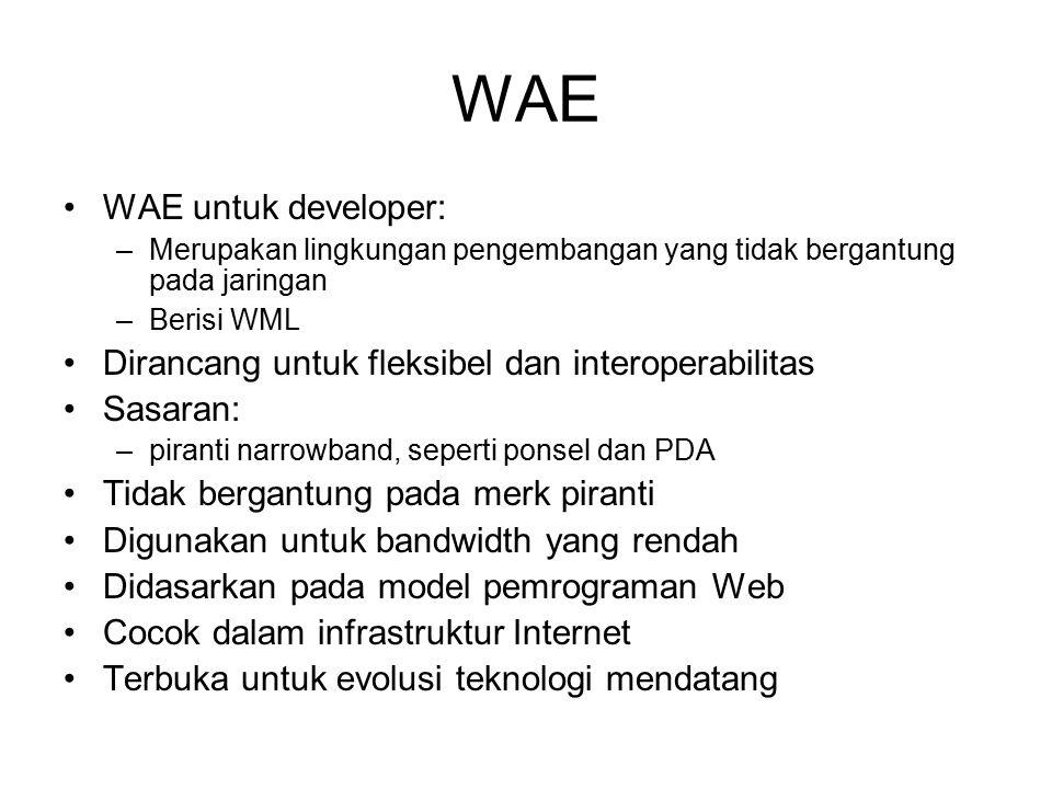 WAE WAE untuk developer: –Merupakan lingkungan pengembangan yang tidak bergantung pada jaringan –Berisi WML Dirancang untuk fleksibel dan interoperabilitas Sasaran: –piranti narrowband, seperti ponsel dan PDA Tidak bergantung pada merk piranti Digunakan untuk bandwidth yang rendah Didasarkan pada model pemrograman Web Cocok dalam infrastruktur Internet Terbuka untuk evolusi teknologi mendatang