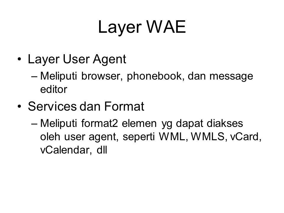 Layer WAE Layer User Agent –Meliputi browser, phonebook, dan message editor Services dan Format –Meliputi format2 elemen yg dapat diakses oleh user agent, seperti WML, WMLS, vCard, vCalendar, dll