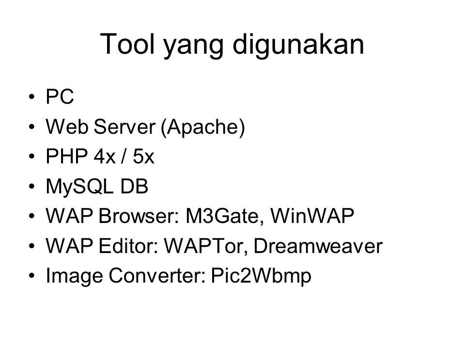 Tool yang digunakan PC Web Server (Apache) PHP 4x / 5x MySQL DB WAP Browser: M3Gate, WinWAP WAP Editor: WAPTor, Dreamweaver Image Converter: Pic2Wbmp