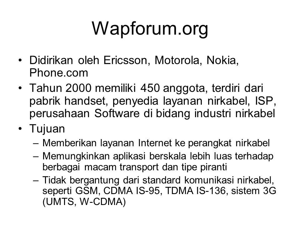 WAP enabled Web server Personal Web Server (PWS) untuk Win 98 Internet Information Service (IIS) untuk Win 2000, NT, XP, Vista –Install dari CD Windows, pada Add remove windows component Apache, untuk mudahnya Apache2Triad –http://www.apache.org Xitami –http://www.xitami.com