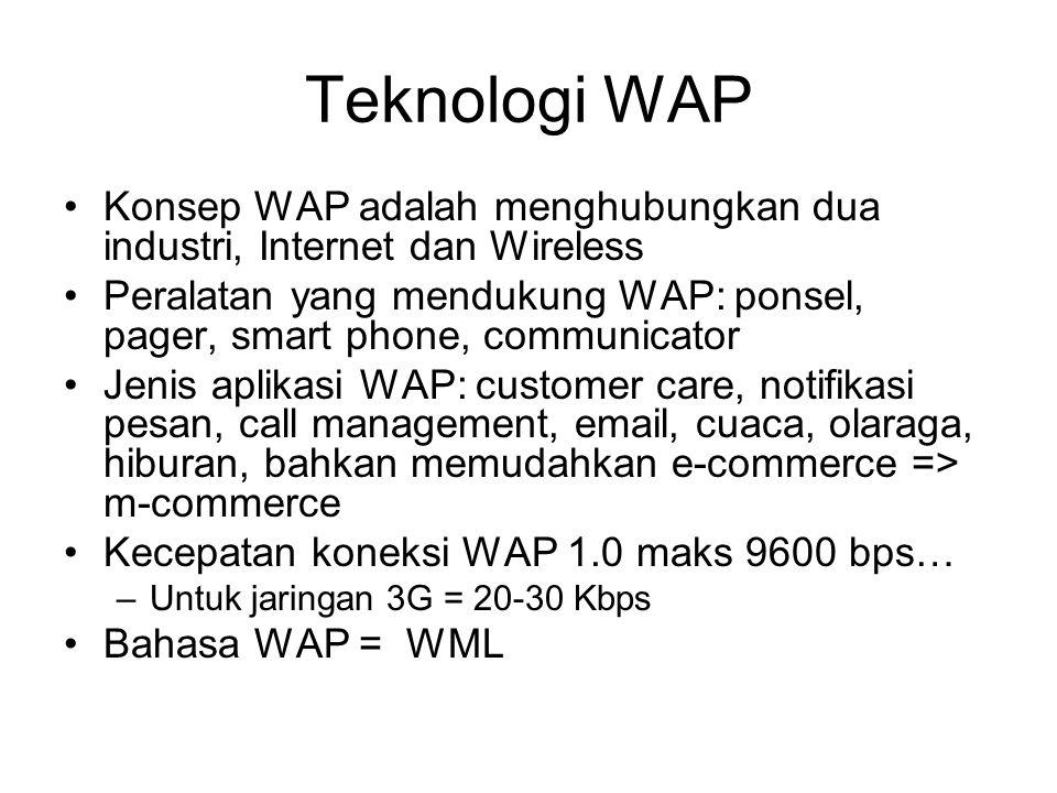 Teknologi WAP Konsep WAP adalah menghubungkan dua industri, Internet dan Wireless Peralatan yang mendukung WAP: ponsel, pager, smart phone, communicator Jenis aplikasi WAP: customer care, notifikasi pesan, call management, email, cuaca, olaraga, hiburan, bahkan memudahkan e-commerce => m-commerce Kecepatan koneksi WAP 1.0 maks 9600 bps… –Untuk jaringan 3G = 20-30 Kbps Bahasa WAP = WML