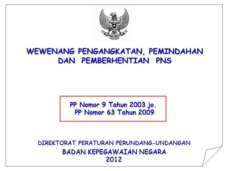 WEWENANG PENGANGKATAN, PEMINDAHAN DAN PEMBERHENTIAN PNS PP Nomor 9 Tahun 2003 jo.