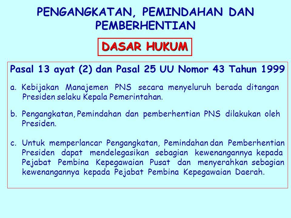 PENGANGKATAN, PEMINDAHAN DAN PEMBERHENTIAN Pasal 13 ayat (2) dan Pasal 25 UU Nomor 43 Tahun 1999 a.