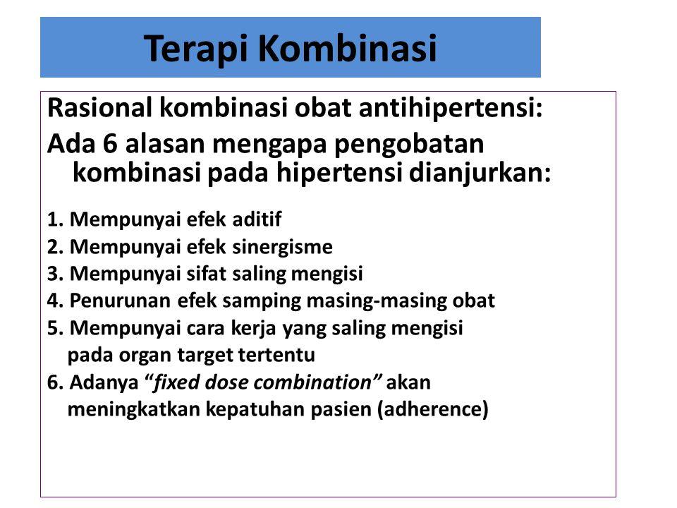 Terapi Kombinasi Rasional kombinasi obat antihipertensi: Ada 6 alasan mengapa pengobatan kombinasi pada hipertensi dianjurkan: 1. Mempunyai efek aditi