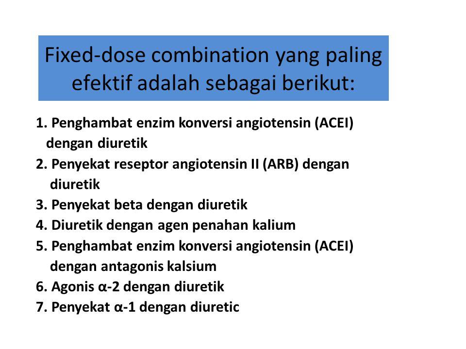 Fixed-dose combination yang paling efektif adalah sebagai berikut: 1. Penghambat enzim konversi angiotensin (ACEI) dengan diuretik 2. Penyekat resepto