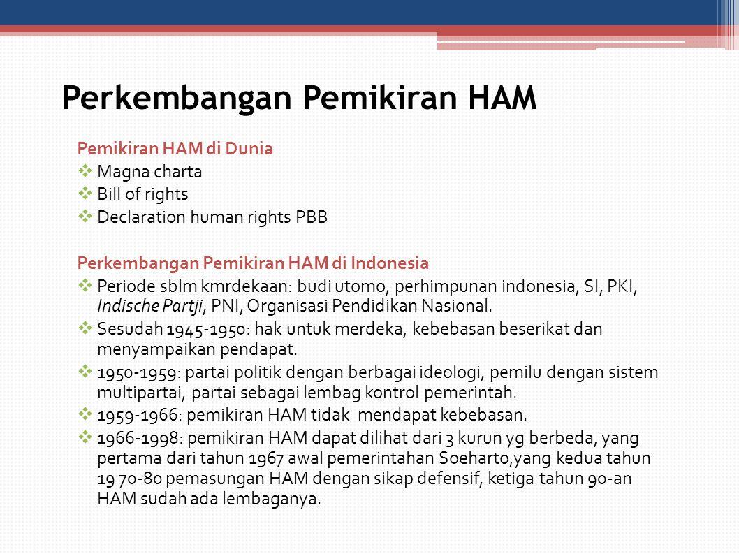 Perkembangan Pemikiran HAM Pemikiran HAM di Dunia  Magna charta  Bill of rights  Declaration human rights PBB Perkembangan Pemikiran HAM di Indones