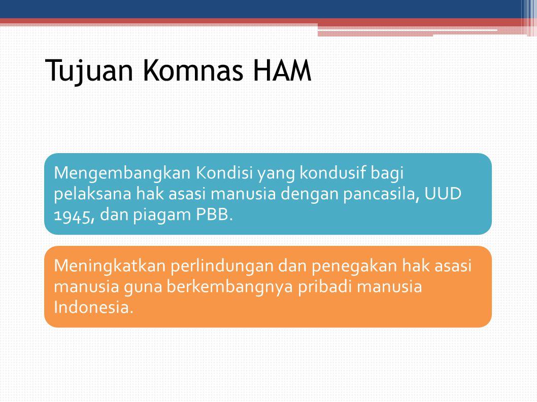 Tujuan Komnas HAM Mengembangkan Kondisi yang kondusif bagi pelaksana hak asasi manusia dengan pancasila, UUD 1945, dan piagam PBB. Meningkatkan perlin