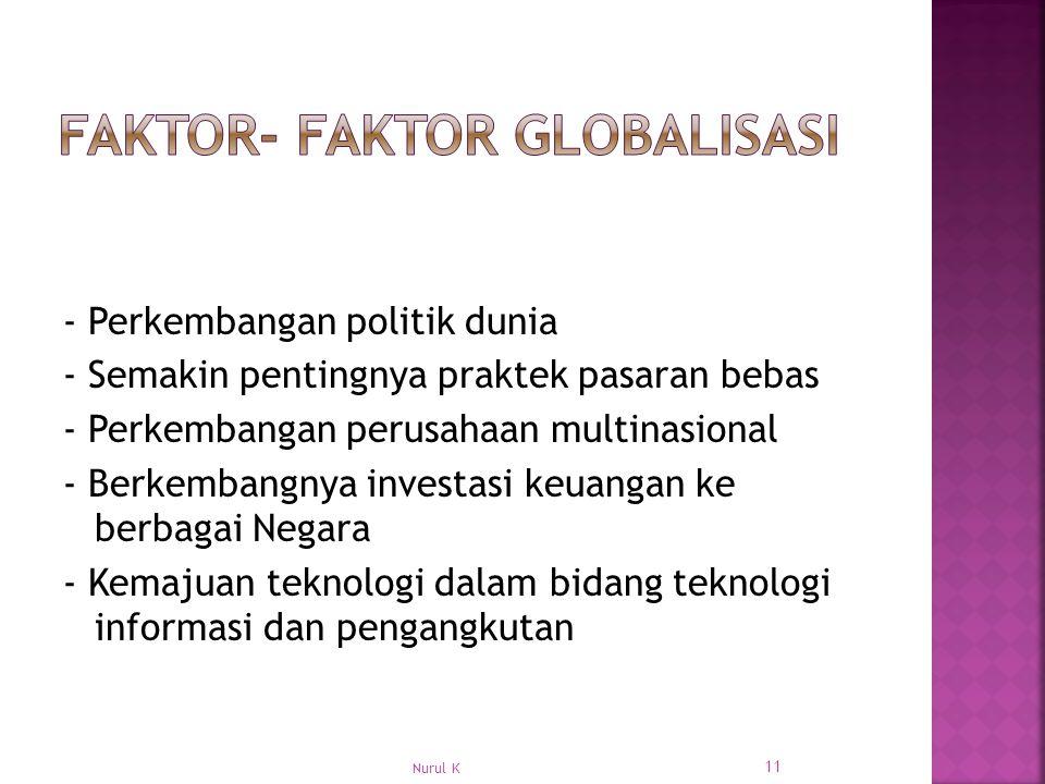 - Perkembangan politik dunia - Semakin pentingnya praktek pasaran bebas - Perkembangan perusahaan multinasional - Berkembangnya investasi keuangan ke berbagai Negara - Kemajuan teknologi dalam bidang teknologi informasi dan pengangkutan 11 Nurul K