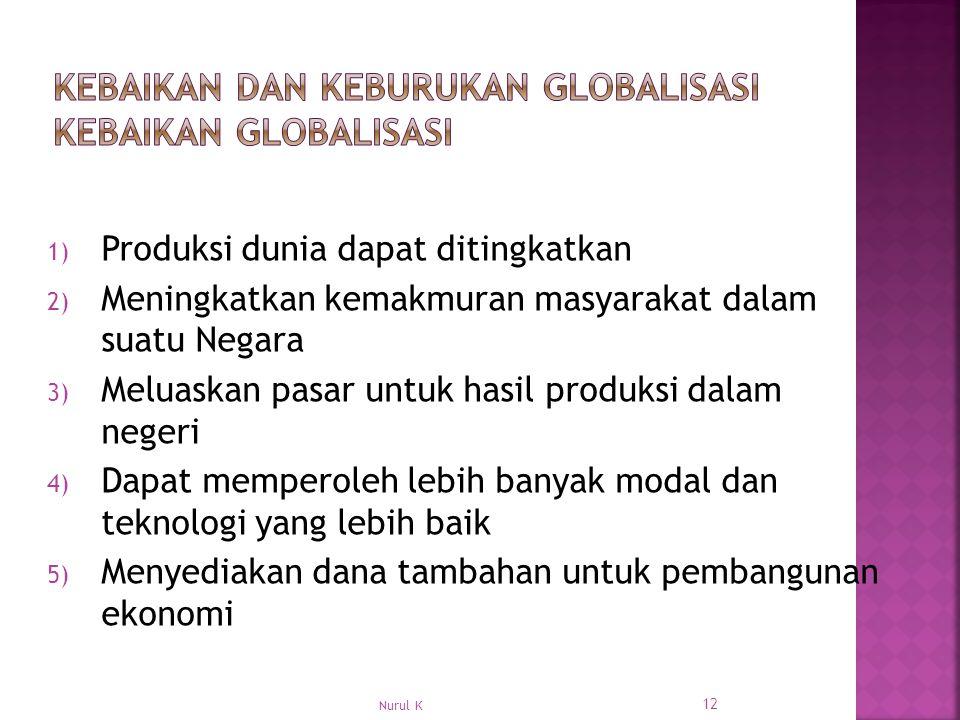 1) Produksi dunia dapat ditingkatkan 2) Meningkatkan kemakmuran masyarakat dalam suatu Negara 3) Meluaskan pasar untuk hasil produksi dalam negeri 4) Dapat memperoleh lebih banyak modal dan teknologi yang lebih baik 5) Menyediakan dana tambahan untuk pembangunan ekonomi 12 Nurul K