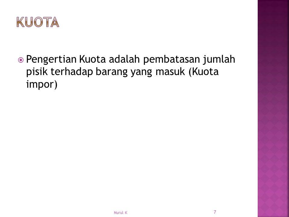  Pengertian Kuota adalah pembatasan jumlah pisik terhadap barang yang masuk (Kuota impor) 7 Nurul K