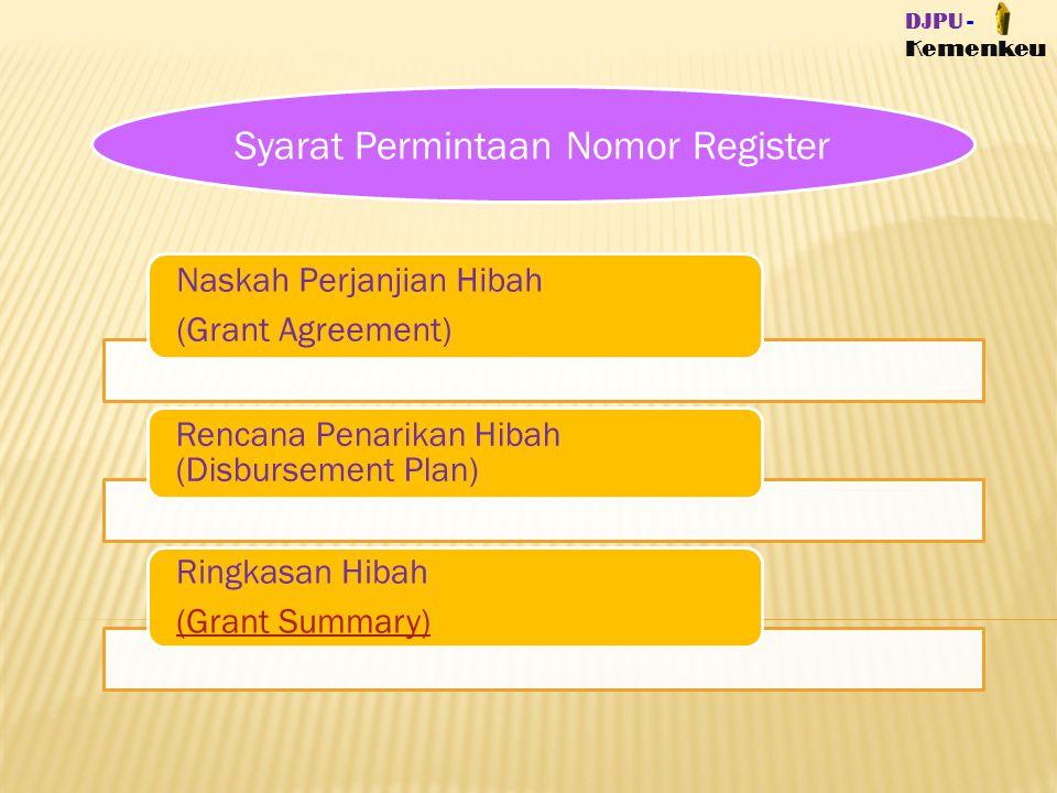 Syarat Permintaan Nomor Register Naskah Perjanjian Hibah (Grant Agreement) Rencana Penarikan Hibah (Disbursement Plan) Ringkasan Hibah (Grant Summary)