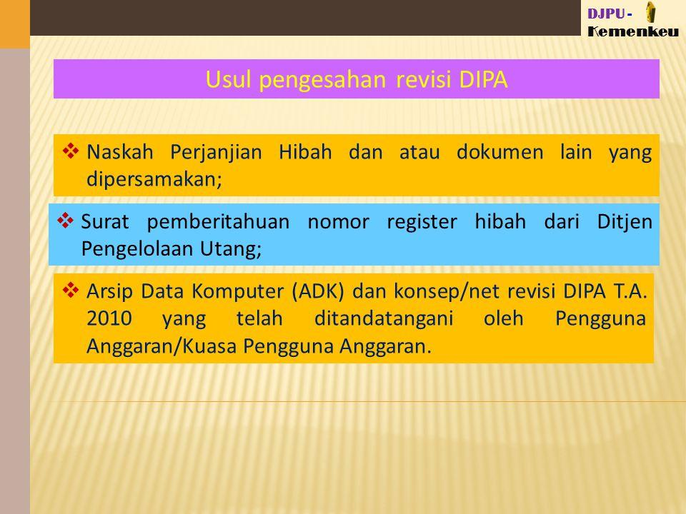 DJPU - Kemenkeu Usul pengesahan revisi DIPA  Arsip Data Komputer (ADK) dan konsep/net revisi DIPA T.A.