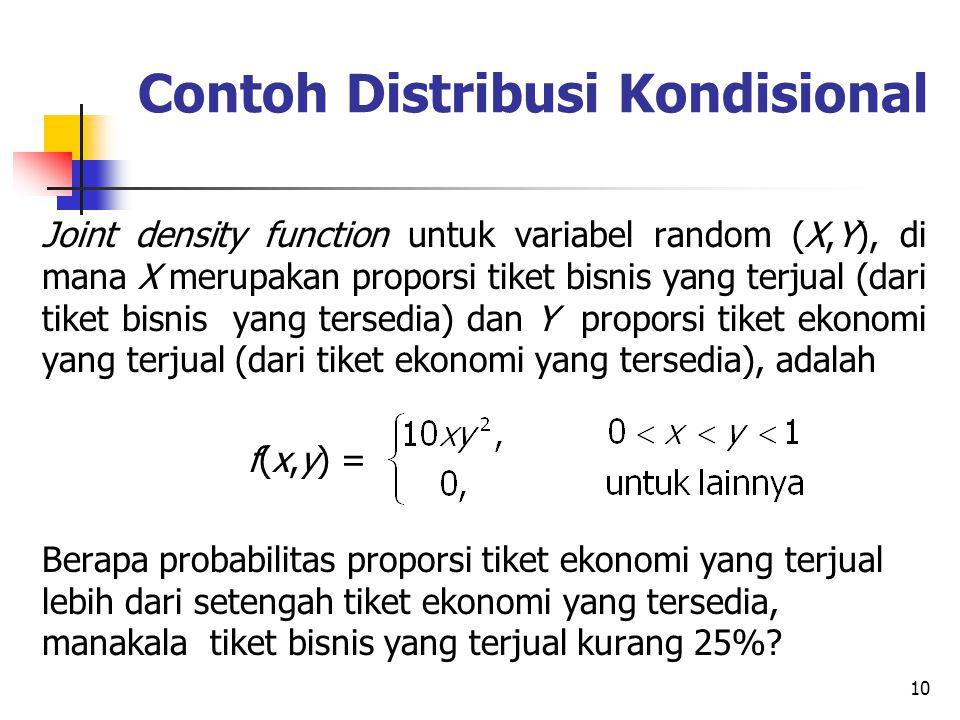 10 Contoh Distribusi Kondisional Joint density function untuk variabel random (X,Y), di mana X merupakan proporsi tiket bisnis yang terjual (dari tike