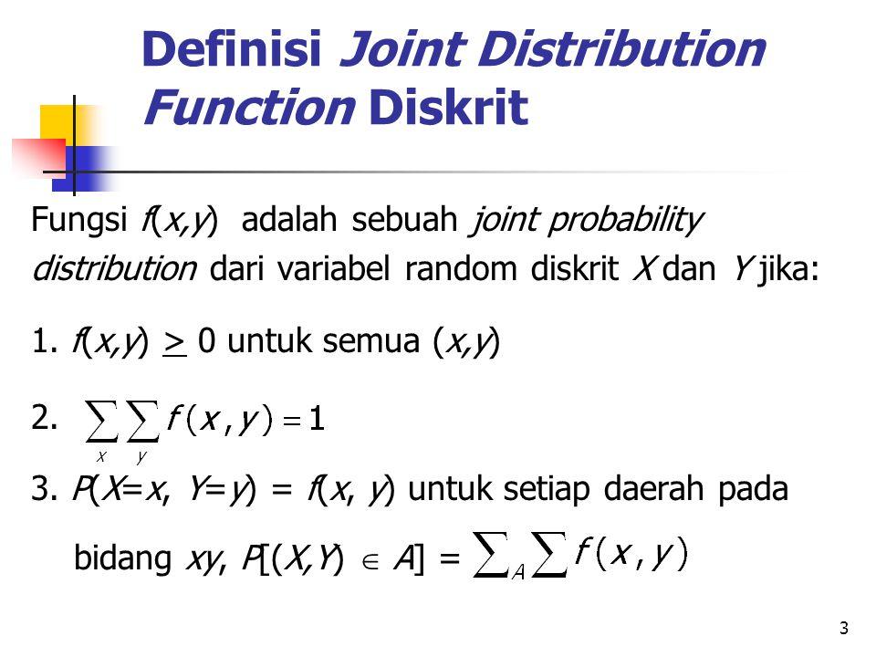 3 Definisi Joint Distribution Function Diskrit Fungsi f(x,y) adalah sebuah joint probability distribution dari variabel random diskrit X dan Y jika: 1