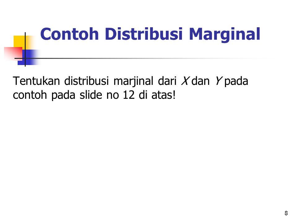 8 Contoh Distribusi Marginal Tentukan distribusi marjinal dari X dan Y pada contoh pada slide no 12 di atas!