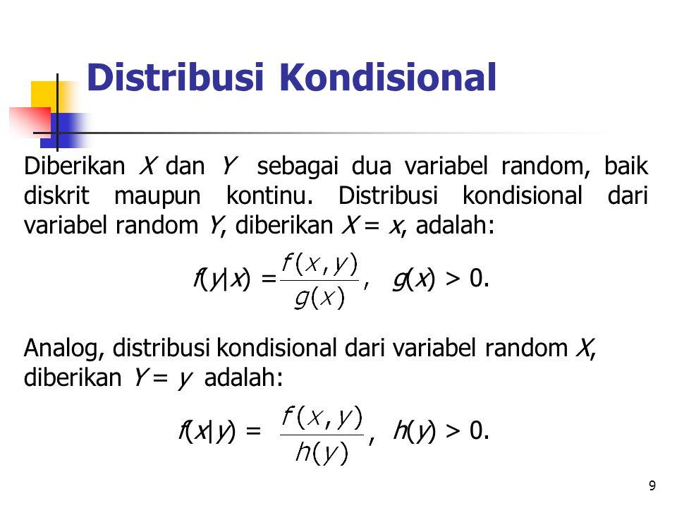 9 Distribusi Kondisional Diberikan X dan Y sebagai dua variabel random, baik diskrit maupun kontinu. Distribusi kondisional dari variabel random Y, di