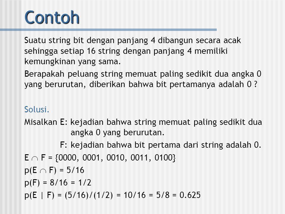 Contoh Suatu string bit dengan panjang 4 dibangun secara acak sehingga setiap 16 string dengan panjang 4 memiliki kemungkinan yang sama. Berapakah pel