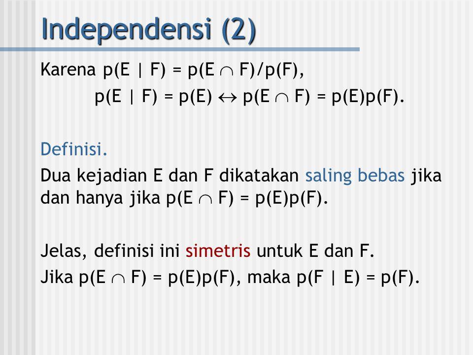 Karena p(E | F) = p(E  F)/p(F), p(E | F) = p(E)  p(E  F) = p(E)p(F). Definisi. Dua kejadian E dan F dikatakan saling bebas jika dan hanya jika p(E