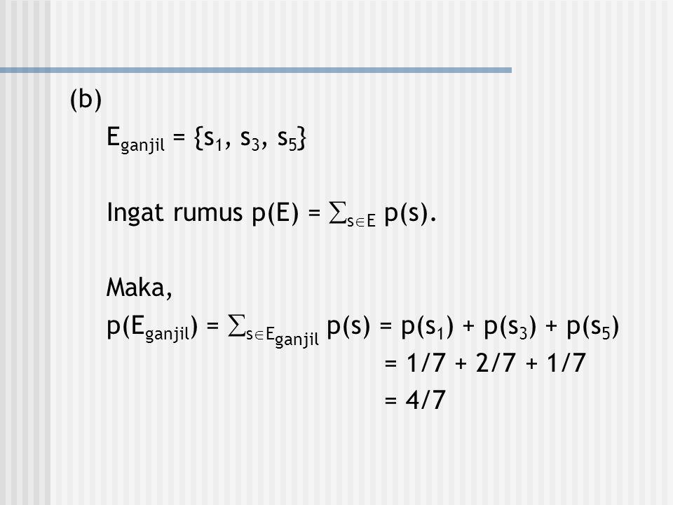 (b) E ganjil = {s 1, s 3, s 5 } Ingat rumus p(E) =  s  E p(s). Maka, p(E ganjil ) =  s  E ganjil p(s) = p(s 1 ) + p(s 3 ) + p(s 5 ) = 1/7 + 2/7 +