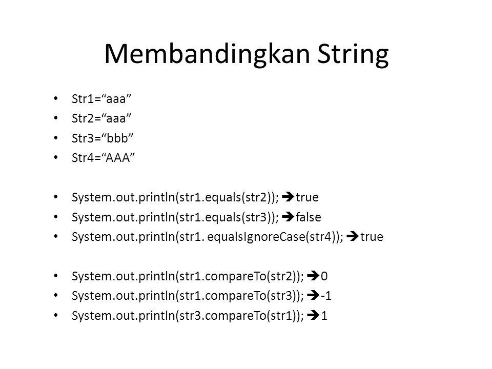 "Membandingkan String Str1=""aaa"" Str2=""aaa"" Str3=""bbb"" Str4=""AAA"" System.out.println(str1.equals(str2));  true System.out.println(str1.equals(str3));"