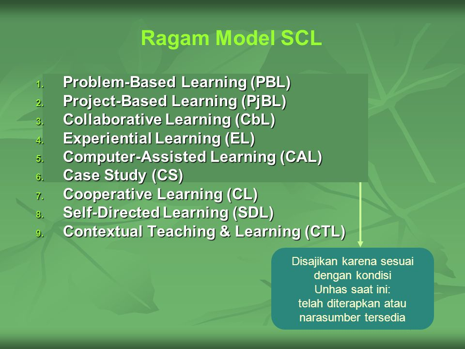 Ragam Model SCL 1. P roblem-Based Learning (PBL) 2.