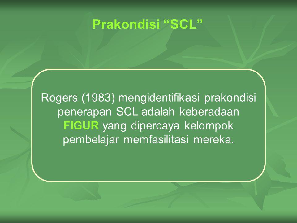 Prakondisi SCL Rogers (1983) mengidentifikasi prakondisi penerapan SCL adalah keberadaan FIGUR yang dipercaya kelompok pembelajar memfasilitasi mereka.