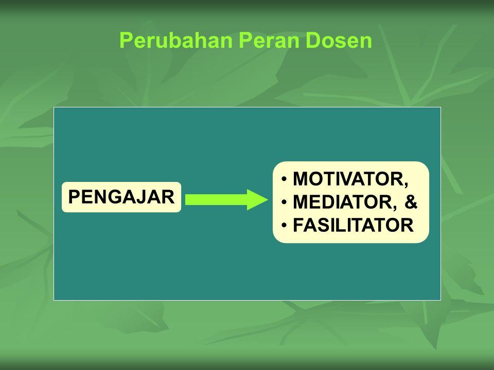 Perubahan Peran Dosen PENGAJAR MOTIVATOR, MEDIATOR, & FASILITATOR