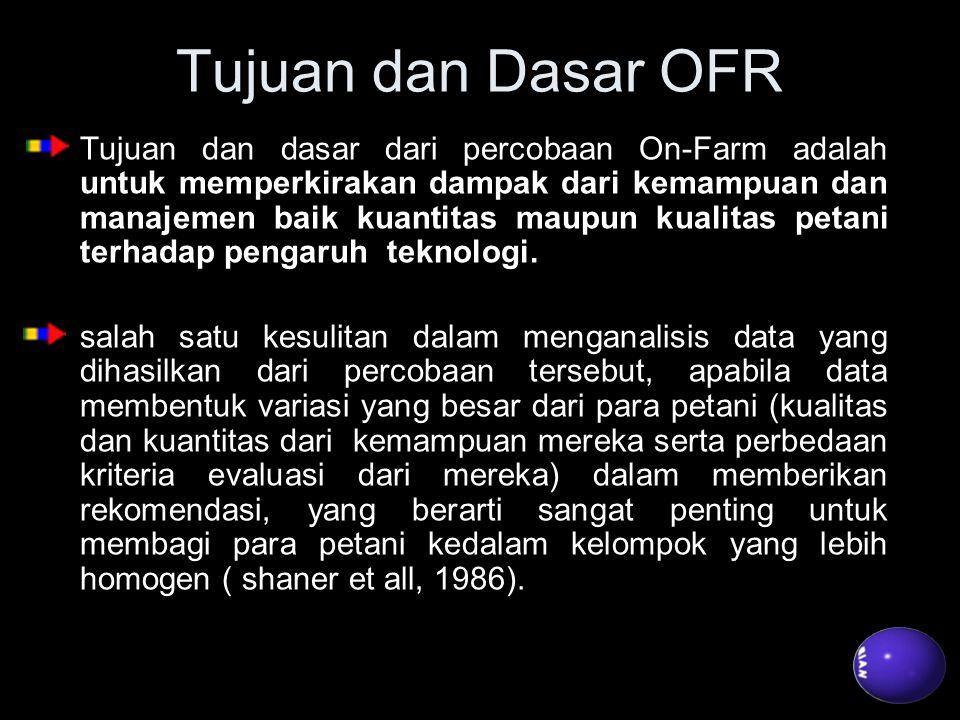 Tujuan dan Dasar OFR Tujuan dan dasar dari percobaan On-Farm adalah untuk memperkirakan dampak dari kemampuan dan manajemen baik kuantitas maupun kual