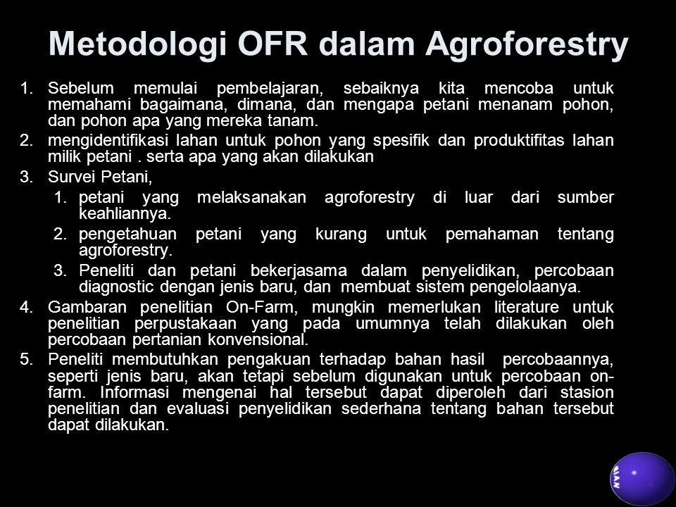 Metodologi OFR dalam Agroforestry 1.Sebelum memulai pembelajaran, sebaiknya kita mencoba untuk memahami bagaimana, dimana, dan mengapa petani menanam