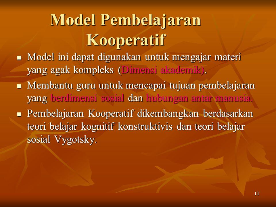11 Model Pembelajaran Kooperatif Model ini dapat digunakan untuk mengajar materi yang agak kompleks (Dimensi akademik).
