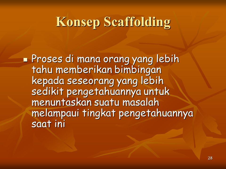 28 Konsep Scaffolding Proses di mana orang yang lebih tahu memberikan bimbingan kepada seseorang yang lebih sedikit pengetahuannya untuk menuntaskan s