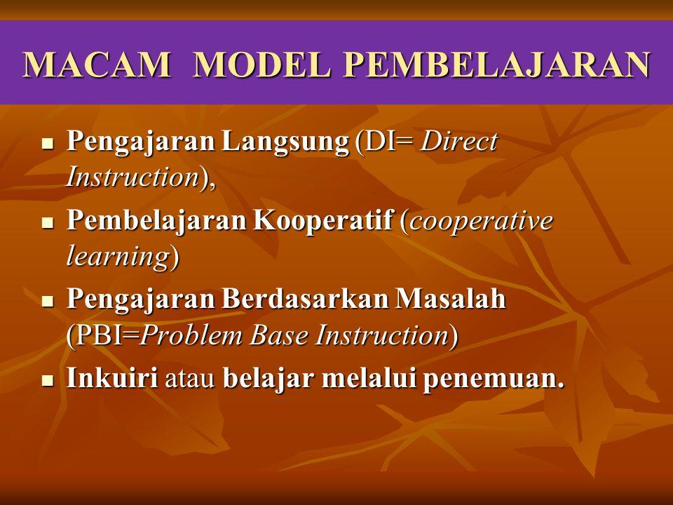 MACAM MODEL PEMBELAJARAN Pengajaran Langsung (DI= Direct Instruction), Pengajaran Langsung (DI= Direct Instruction), Pembelajaran Kooperatif (cooperat