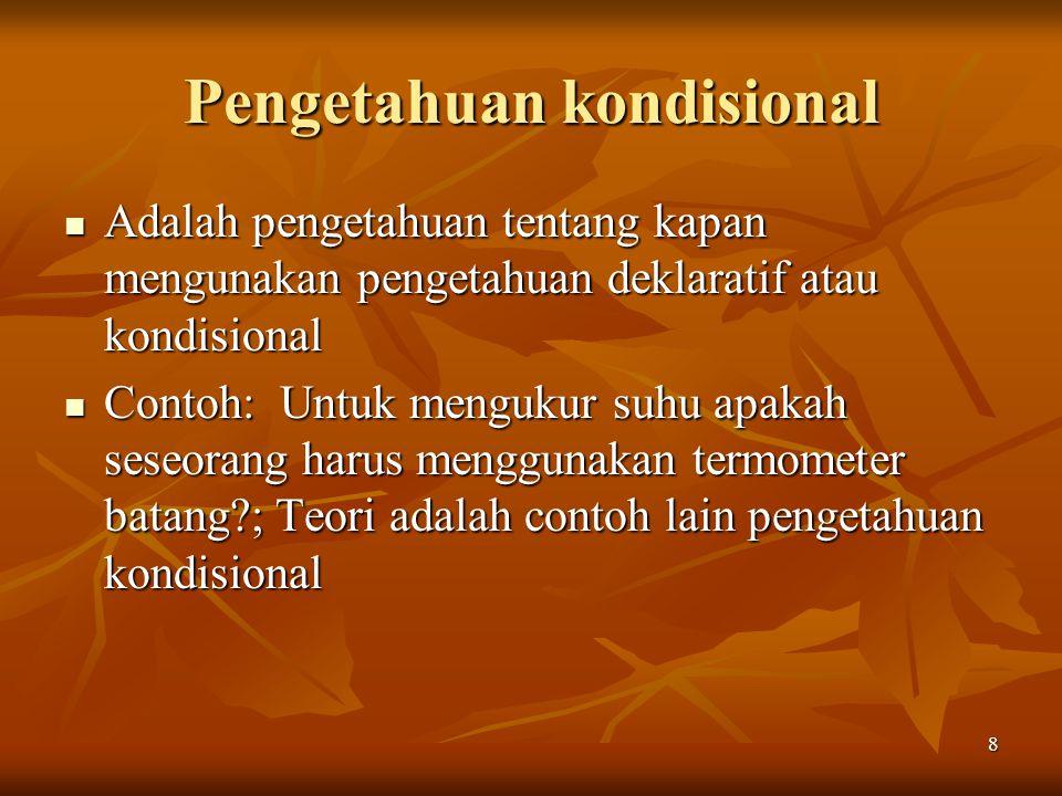 8 Pengetahuan kondisional Adalah pengetahuan tentang kapan mengunakan pengetahuan deklaratif atau kondisional Adalah pengetahuan tentang kapan menguna